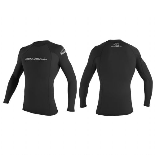 O'NEILL MENS RASH VEST.SKINS UPF50 LONG SLEEVE CREW BLACK T SHIRT/TOP 7S/342/002